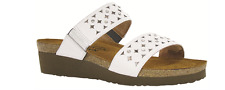 Naot Susan White Leather/Glass Silver Slide Sandal Women's sizes 5-11/36-42/NEW!