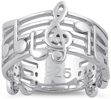 925 Sterling Silver Treble Clef Musical Notes Ring Band Musician Jewelry Unisex