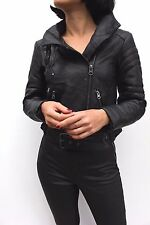 Asos Black Funnel Neck Leather Quilted Panel Belted Biker Jacket Coat 8 - 10 New