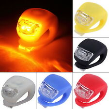 LED Bicycle Bike Cycling Silicone Head Front Rear Wheel Safety Light Lamp NEW OI