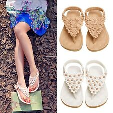 Summer Womens Bohemia Thong Flip Flops Wedge Slippers Beach Beaded Sandals Shoes