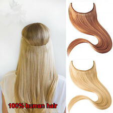 "16-26"" Secret Wire Headband Filp-In 100% Remy Human Hair Extensions Black Blonde"
