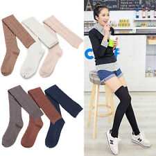 Women Girl Over The Knee Cotton Plain Long Socks Solid Thigh High Stockings