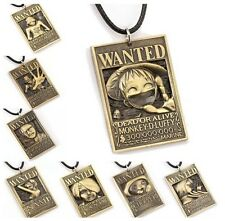 One Piece Wanted Dog Tag Pendant Necklace Luffy Nami Sanji Zoro Law Nico Robin