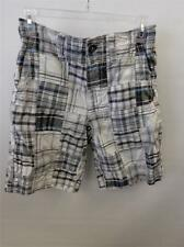 mens sz 28 AE AMERICAN EAGLE blk gray plaid patchwork madras shorts prep clean