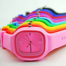 Men Women Square Dial Jelly Silicone Sport Quartz Simple Wrist Watch Steady