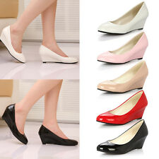 Women PU Leather Candy Color High Heel Platform Wedge Shoes Work Court Shoes
