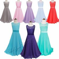 Girl Flower Lace Dress Bridesmaid Party Princess Prom Wedding Christening Formal