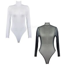 Womens Long Sleeve Bodysuit Leotard Bodycon Bandage Jumpsuit Romper Mesh Sexy