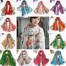 Womens Flower Floral Print Soft Long Wrap Scarf Stole Shawl Xmas Gift Affordable