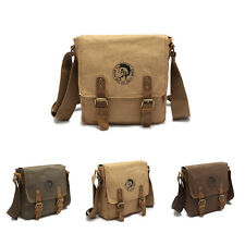 Mens Vintage Canvas Crossbody Satchel School Military Shoulder Bag Messenger Bag