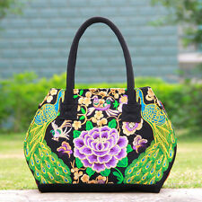 Ethnic Embroidery Canvas Handbag Woman Shoulder Bag Casual Totes Shoppers