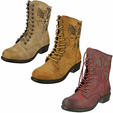 SALE LADIES SPOT ON MILITARY STYLE ZIP / LACE UP LOW HEEL ANKLE BOOTS - F50171