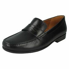 MENS CLARKS LEATHER LIGHTWEIGHT FORMAL SLIP ON SMART LOAFERS SHOES CLAUDE LANE