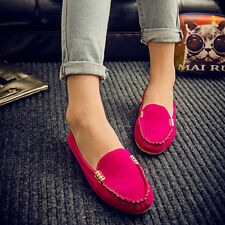Womens Loafers Moccasin Shoes Suede Ballet Ladies Ballerina Slip On Casual Flats