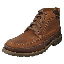 STEWEY HI MENS CLARKS LACE UP MAHOGANY LEATHER CASUAL WINTER ANKLE BOOTS SHOES