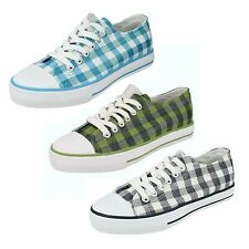 LADIES SPOT ON LACE UP CANVAS EVERYDAY FLATS SHOES F8499