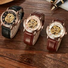 Classic Men's Brown Leather Dial Skeleton Mechanical Sport Wrist Watch Hand-wind