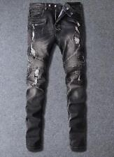 New Mens Slim Denim Zipper Pants Ripped Breaking holes Washed Jeans Trousers