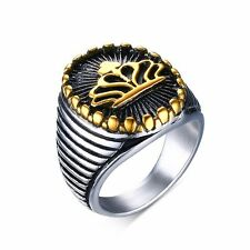 18K Gold Plated Crown Band Men's Vintage Jewelry Stainless Steel Ring Size 9-12
