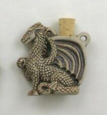 Ceramic Pottery Bottle/Necklace, High Fired Dragon Design