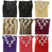 PREMIUM Clip in Remy Real Human Hair Extensions 7PCS Full Head Straight 15-28""