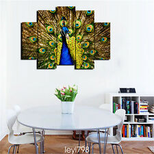 Modern Home Decor Canvas Painting HD Print Picture Art animal Peacock 5pcs