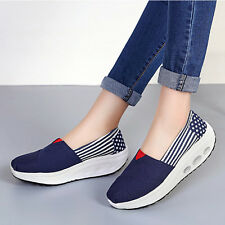 Women Breathable Canvas Sneakers Shoes Slip on Platform Wedge Swing Shoes