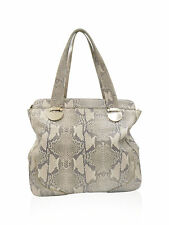 Cole Haan Beige and Grey Snake Embossed Leather Tote Handbag
