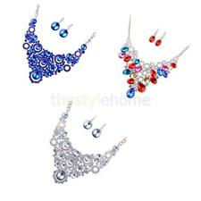 MagiDeal Wedding Bridal Full Crystal Statement Bib Necklace Earrings Jewelry Set