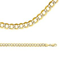 Cuban Necklace Solid 14k Yellow White Gold Chain Pave Curb Hollow , 6.6 mm