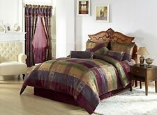 Queen Jacquard Patchwork Comforter Set 7 Piece Bedding Multi Colored Green Gold