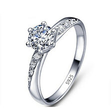 Round Cut Women Bridal Size 6,7,8,9 White Sapphire Gold Filled Wedding Ring Gift