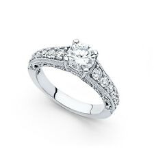 14k Yellow OR White Gold CZ Vintage Style Solitaire Engagement Ring Round Band