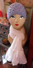 Hand-Crocheted Blue Beanie HAT or French 100% Cotton Sheer White SCARF, Flounce