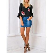 Casual Ruffle Chiffon Blouse Embroidery Summer Short V Neck Blouse Fashion New