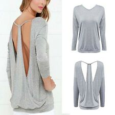 Backless Women Tops Shirt Blouse Cotton Bottom Blouse Casual Sexy Long Sleeve