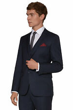 DKNY Mens Navy Blue Suit Jacket Slim Fit Single Breasted Two Button Wool Blend