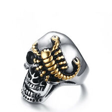 Gothic Skull Golden Scorpion Stainless Steel Punk Band Men's Cool Ring Size 8-12
