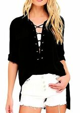 Sidefeel Women Long Sleeve Collared Lace-up Top Blouse - Choose SZ/Color