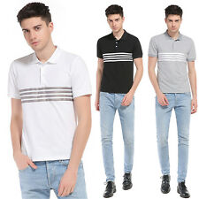 Mens Fashion Comfort Tees Soft Cotton Blend Contracted Stripe Short T-Shirts G