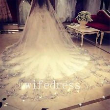 Luxury White/Ivory Crystals Beading Wedding Bridal Veils Cathedral 3 Meters Long