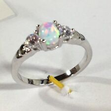 Fire Opal Solid 925 Sterling Silver white gold Gemstone Jewelry Ring 8