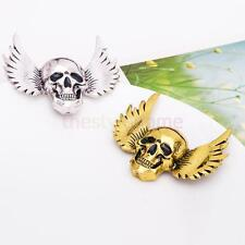 Antique Silver Gold Halloween Skull Head With Wings Unisex Charm Brooch Pins