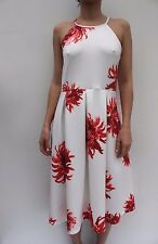 Asos Casual White Red Floral Pleated Skater Evening Dress Size 8 36 12 40 New