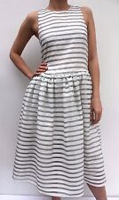 ASOS WHITE Casual Grey Stripe Organza Trapeze Skater Evening Dress 8 36 US 4 New