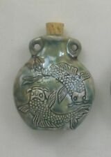 Raku Ceramic Pottery Bottle Necklace, Double Koi, Choice of Lot Size & Price