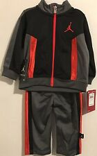 Nike Air Jordan Black Gray Orange 2 piece Set Track Suit Infant Boy Size 3-6 6-9