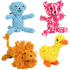 Rope Dog Toy Dog Chew Toy Braided Knot Toys Teeth Cleaning Cute Bear Duck Lion