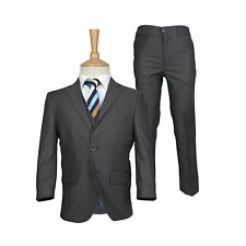 Boys Charcoal Grey Wedding Suit Page Boy Kids Dark Grey Prom Party Suits